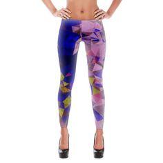 Pink Blue Crystal Pattern Leggings #leggings