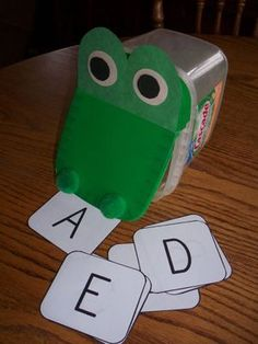 This little circle time activity is made with a container from Cascade  Action Pacs Dishwasher Soap. At circle time, say the following verse:  Crocodile, crocodile down by lake,  I'm going to reach right in and see what (letter) you ate. Have the child reach into the crocodile's mouth and pull out a card. (To change this for 1st grade- I will use sight words or math problems.)