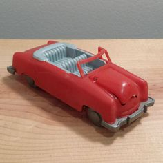 1950s Gilmark Red Toy Convertible Car, vintage hard plastic toy vehicle. For Sale by DanushasCollectibles vintage Etsy Shop.