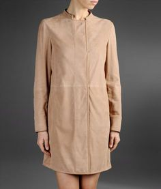 runway suede coat with micro perforations