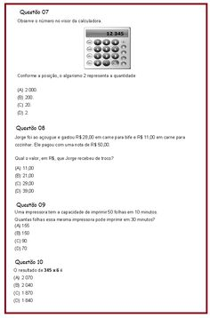 Avaliação de Matemática 4º ano  |   Rérida Maria