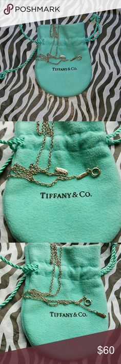 """💚Tiffany & Co Necklace Tiffany, 925 sterling 16"""" necklace...not the very thin neck chain as you can see. I do have a thinner one in another post. I wear 18"""" at least so can spare selling this. Not negotiating price or else I'll keep it for my baby granddaughter💚 Tiffany & Co. Jewelry Necklaces"""