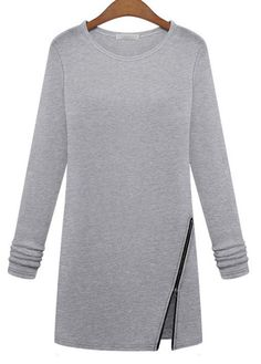 Light Grey Long Sleeve Cotton T Shirt