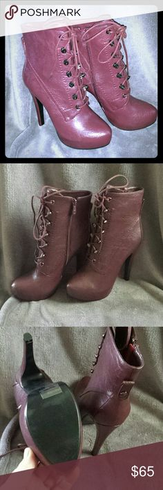 Fugitive by Bakers, sz 6.5, new, Burgandy Brand new, never worn, Burgandy boots by Bakers!  Faux leather, gunmetal studs for lace ups, faux fur lined!  Great boots, unless you live in South Texas like I do.  Too hot for boots.  Fit true to size. Bakers Shoes Lace Up Boots
