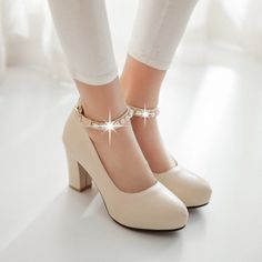 Rhinestone Ankle Straps Women Chunky Heel Pumps High Heels Dress Shoes