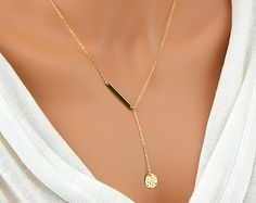 Simple Y Necklace, Gold Lariat Necklace, Hammered Disc Necklace, Delicate Gold Necklace, Bar Lariat Necklace, Y Necklace by malizbijoux. Explore more products on http://malizbijoux.etsy.com