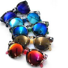 Mens Mirror Camouflage Trans Round Sunglasses By Guylook.com