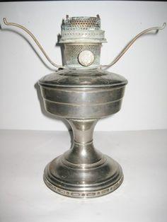 Vintage Aladdin Model 12 Oil Lamp w/ Font Burner Chrome Finish Mantle + Wick Hurricane Lamps, Vintage Lamps, Oil Lamps, Chrome Finish, Aladdin, Mantle, Table Lamp, Tableware, Model