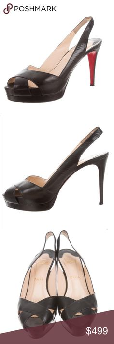 2073c322f2a13 CHRISTIAN LOUBOUTIN Soso 100 sling back pumps 38 CHRISTIAN LOUBOUTIN Soso  100 slingback peep toe pumps. Size: IT 38 Black patent leather Christian  Louboutin ...