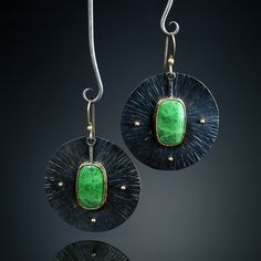 Gaspeite Earrings. Earrings. Fabricated Sterling Silver, 22k and 14k. www.amybuettner.com https://www.facebook.com/pages/Metalsmiths-Amy-Buettner-Tucker-Glasow/101876779907812?ref=hl https://www.etsy.com/people/amybuettner http://instagram.com/amybuettnertuckerglasow