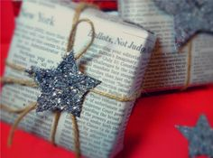 so magical! You could use this wrapping idea for multiple occasions!  Rustic hemp twine, DIY silver glittery stars and recycled newspaper used as gift wrap.