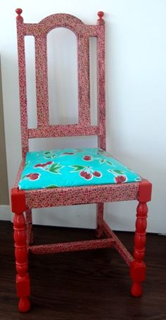 Another fabric decoupage chair I did. Also used paint and oil cloth. Thrilled with the end result