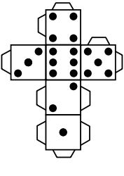 Printable die dice by snifty - A template for printing out dice to use in game for kids, language learning, etc.