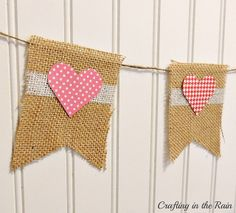 Crafting in the Rain: Burlap Valentine's Banner....@Ashley Moore....this is SO going in my window :0)