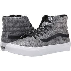 Vans SK8-Hi Slim ((Pebble Snake) Gray/Black) Skate Shoes ($33) ❤ liked on Polyvore featuring shoes, sneakers, vans, grey, black leather sneakers, vans high tops, black hi top sneakers, black leather shoes and leather high tops