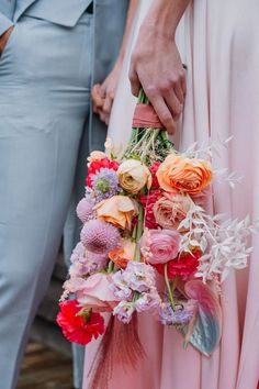 Holographic Flowers Pink Orange Modern Bouquet Bride Bridal Disco Wedding Ideas Lex Fleming Photo #HolographicFlowers #PinkBouquet #OrangeBouquet #ModernBouquet #WeddingBouquet #BrideBouquet #BridalBouquet #Wedding Streamer Backdrop, Streamers, Backdrops, Jumping The Broom, Orange Palette, Dramatic Hair, Wedding Shoot, Wedding Ideas, Wedding Furniture