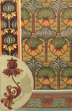 Crown Imperial Art Nouveau book print  Floral by Upcycledgraphics