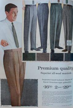 1960s mens pants trousers, 1961