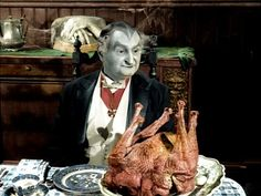 Grandpa from the Munsters and a mutant turkey.