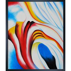 La Pastiche Georgia O'Keeffe 'Music Pink and Blue 1918' Hand Painted Framed Canvas Art