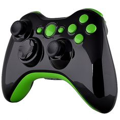 Black Glossy Shell With Green Buttons & Trim