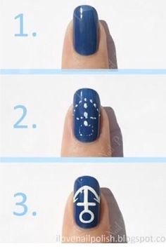 How to paint  an anchor on your nails