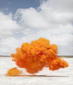 """Nebula Humilis"" by Spanish photographer Lola Guerrera (from a series created in the desert of Mexico) Orange California, Barbarella, Colored Smoke, Orange Design, Fruit Garden, The Last Airbender, Color Photography, Photography Ideas, Color Inspiration"