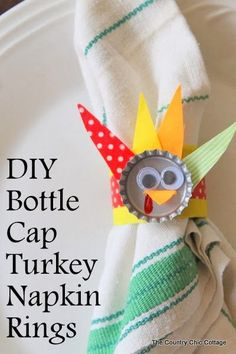 DIY Bottle Cap Turkey Napkin Rings -- make this craft for the kids table at Thanksgiving!  Made with bottle caps and paper towel rolls these...