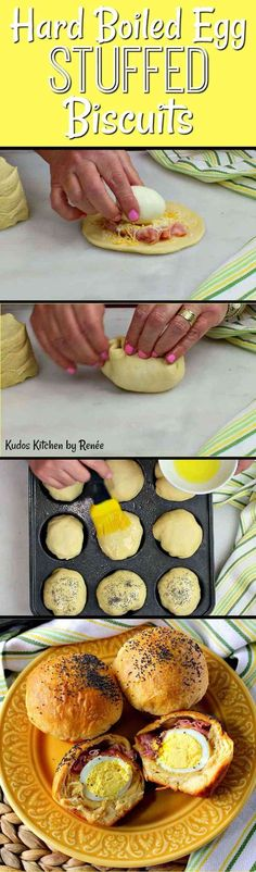 Hard Boiled Egg Stuffed Biscuits with Ham & Cheese   Kudos Kitchen by Renee