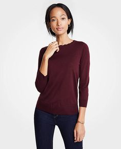 Scallop Crew Neck Sweater | Ann Taylor Crew Neck, V Neck, Fall Photos, Ann Taylor, Autumn Fashion, Tunic Tops, My Style, Sweaters, Outfits