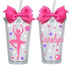 Personalized Ballerina Tumbler with Straw - Dancer on Etsy, $9.95