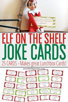 ELF ON THE SHELF JOKE CARDS Cute printable joke tags for your Elf on the Shelf to leave behind each day. Can also be used as a Christmas lunch time note for your kids lunch! Christmas Jokes, Christmas Lunch, Christmas Activities, All Things Christmas, Xmas, Merry Christmas, Christmas Wrapping, Christmas Time, Elf On The Shelf