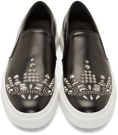 Alexander McQueen Black Studded Leather Slip-On Sneakers