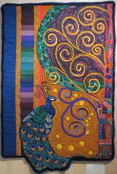 """""""Peacock in Paradise"""" hand hooked by Judy Cole (rug hooking)"""