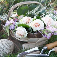 Country garden trug and cut flowers