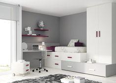 Kids Touch 40 Bloc: Habitación Juvenil Juvenil Camas Compactas y Nidos Bloc compuesto de cama compacta con cama de arrastre, escritorio y armario