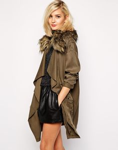 Winter Fashion -Waterfall Jacket With Faux Fur Collar.