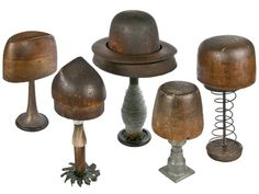 Set of Five Antique Wood Hat Forms on Industrial Bases #1 - Relique