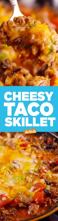 This Cheesy Taco Skillet is the sizzlin' hot way to use ground beef. Get the recipe from Delish.com.