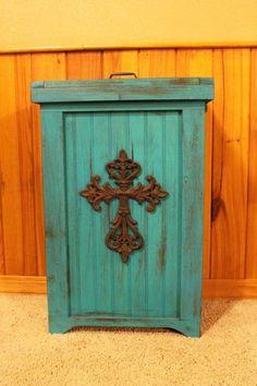 Wooden Beadboard Swing Top Trash Bin In Sage Trashcans