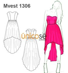 VESTIDO MULLET STRAPLESS Fashion Design Drawings, Fashion Sketches, Mullet Dress, Dress Sketches, High Low Skirt, Mullets, Designs To Draw, Special Occasion Dresses, Pattern Fashion