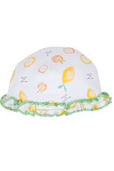 Magnificent Baby Reversible Baby Girl Cap in Oranges & Lemons. Please use coupon code NewProducts to receive 15% off these items. To receive the discount, please place your order by midnight Monday, April 20, 2015
