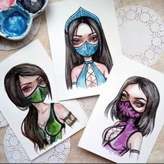 🎮 I always play for Kitana. I so adore this deadly baby! And yes, these watercolor girls you can find in my Etsy. Jade Mortal Kombat, Kitana Mortal Kombat, Mortal Kombat Art, Mortal Kombat Tattoo, Watercolor Girl, Watercolor Postcard, Desenhos Halloween, Mileena, Fantasy Paintings