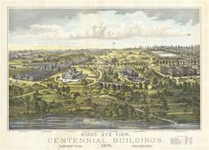 Bird's Eye View, Centennial Buildings, 1876.  Fairmount Park, Philadelphia.