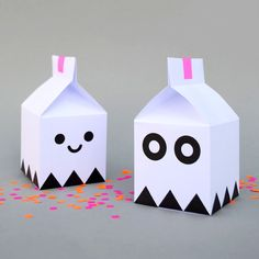 DIY treat boxes. I saw these ghost milk bottles and thought they were very cute and easy…however I couldn't get hold of little milk bottles so made some milk cartons instead which I'm going to stuff with Halloween goodies for the kids to make cute little party favors.