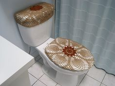 Set of 2 Crochet Covers for Toilet Seat  Toilet Tank Lid