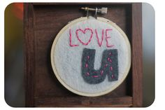 Embroidery Hoop Art. Love U. Hand embroidered Wall Hanging by Catshy Crafts. via Etsy.
