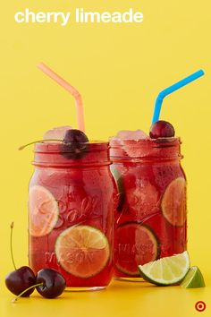 Temps up, bottoms up. Cool down with a Cherry Limeade. This kid-friendly summer mocktail is a sweet and tart drink, literally, with a cherry on top. And it's so easy—just grab a can of La Croix Lime Sparkling Water and add cherry juice, ice then top with fresh lime wedges and cherries.