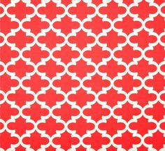Geometric Coral Red Outdoor Fabric by the Yard, Modern Designer Outdoor Fabric, Quatrefoil Outdoor Fabric, Drapery, Cushions, Awning, Crafts