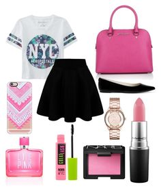 """On Wednesdays we wear pink..."" by alexxfotopoulos on Polyvore featuring Michael Kors, Aéropostale, MICHAEL Michael Kors, Casetify, Marc by Marc Jacobs, MAC Cosmetics, NARS Cosmetics, Maybelline, Victoria's Secret PINK and women's clothing"